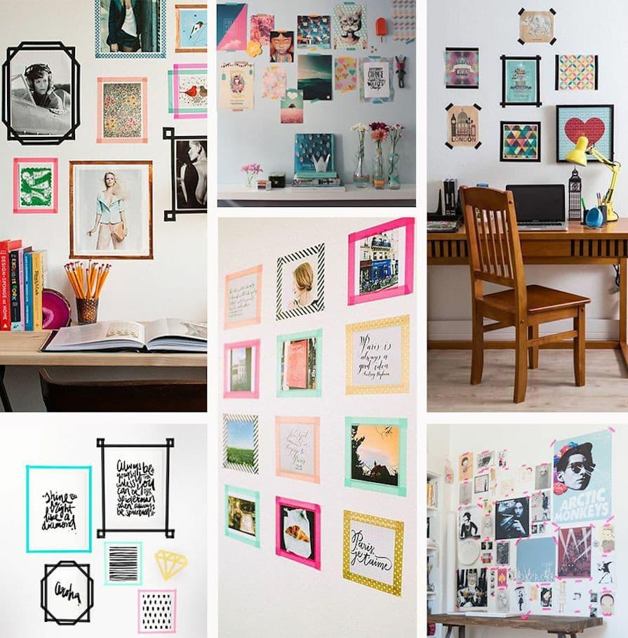 quadros, fotos e pôsteres para a decoração da casa alugada.