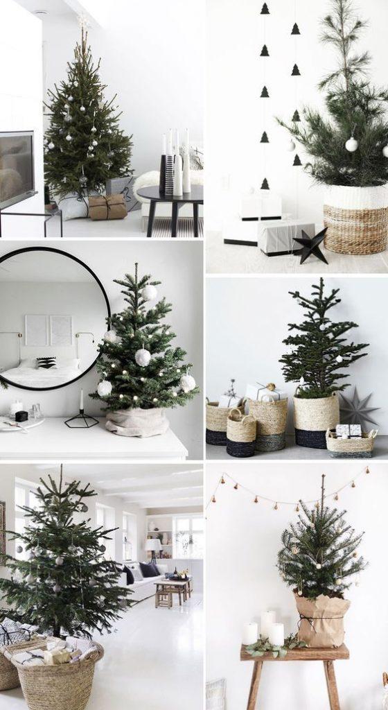 decoração de  natal com árvores pequenas.