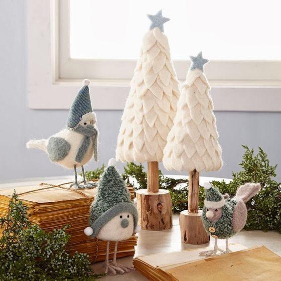 Decoração de natal com passarinhos.