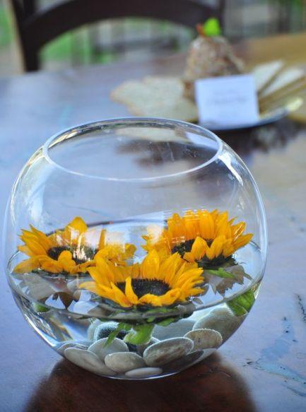 girassol dentro de um vaso com água.